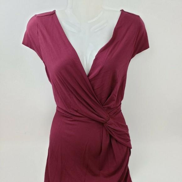 Ann Taylor Dresses & Skirts - Ann Taylor Women's Maroon Stretch Faux Wrap Dress